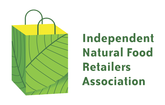 a white background with a green and yellow bag on it and 'Indepedent Natural Food Retailers Association