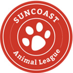 Suncoast animal league red and white logo