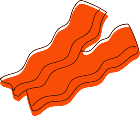 two orange slices of bacon