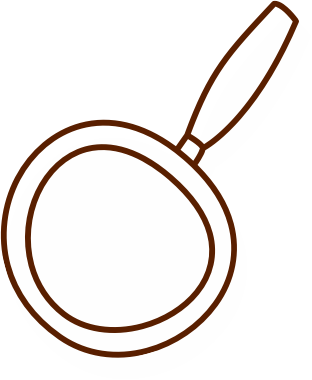 a white and brown magnifying glass