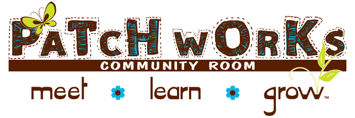 Patchworks Community Room logo with written on it meet, learn and grow and two blue flowers